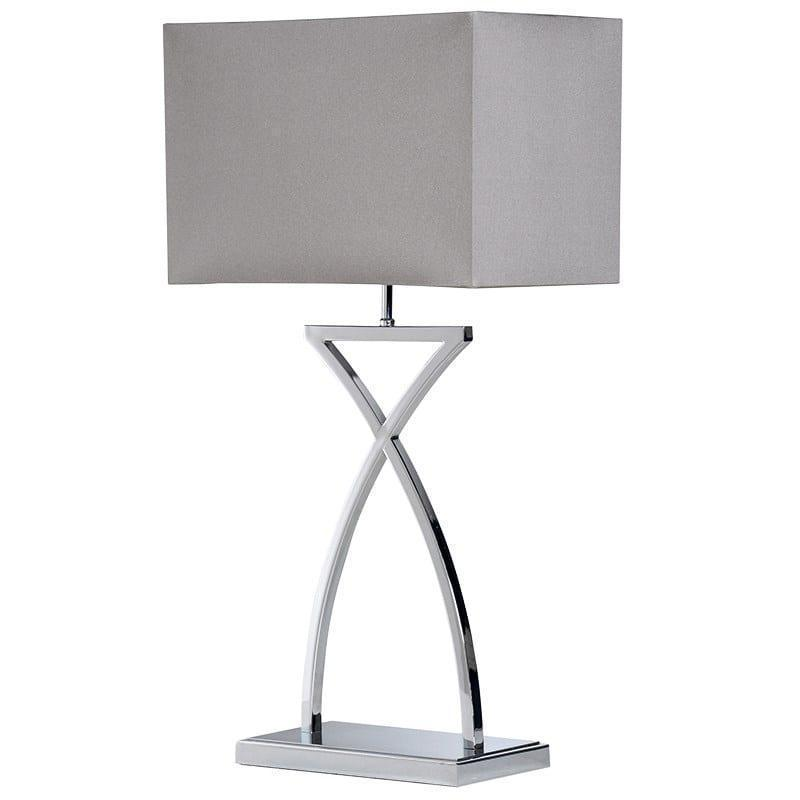 Contemporary 'Cross Stem' Chrome Table Lamp & Matching Shade