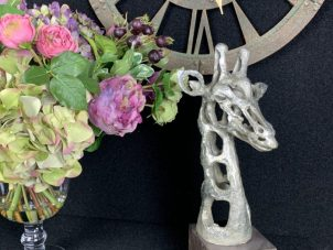 Giraffe Head Sculpture - Abstract Sculpture - Silver Finish