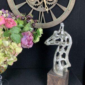 Giraffe Head Sculpture - Abstract Sculpture - Silver Finish