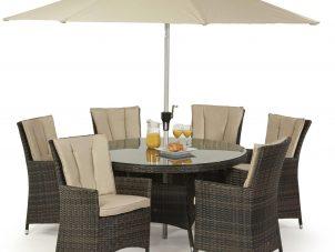 6 Seat Round Garden Dining Set - Umbrella & Base - Brown Polyweave
