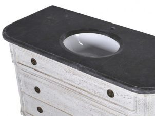 Sink Unit - Black Marble Top - 'Shabby Chic' Design - Single Vanity Unit