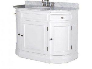 Sink Unit - Oak Painted White - Marble Top - Mirror & Splash Back