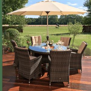 6 Seat Round Garden Dining Set - Inset Ice Bucket - Brolly & Base - Brown Polyweave