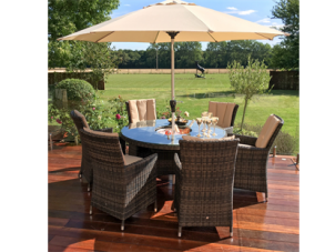 6 Seat Round Garden Dining Set - Inset Ice Bucket - Brolly & Base - Brown Polyweave