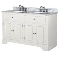 Sink Unit - Grey Marble Top - White Painted - Double Bathroom Sink Unit