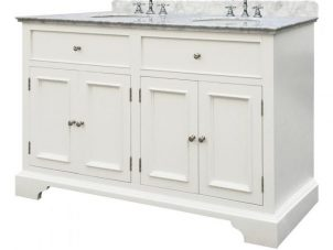 Double Sink Unit - Grey Marble Top - White Painted - White sinks