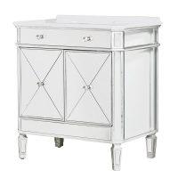 Sink Unit - Silver Edged Single Vanity/Sink Unit - Mirrored Furniture Range