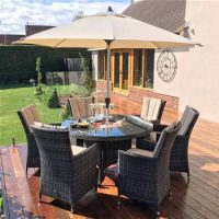 6 Seat Round Garden Dining Set - Inset Ice Bucket - Umbrella - Brown Polyweave