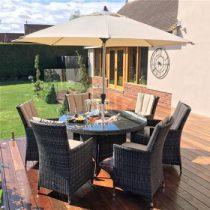 6 Seat Round Garden Dining Set - Inset Ice Bucket - Umbrella - Brown Polyweave