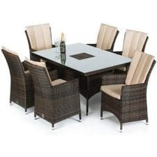 LA 6 Seat Rectangular Dining Set - Inset Ice Bucket - Umbrella - BROWN POLYWEAVE