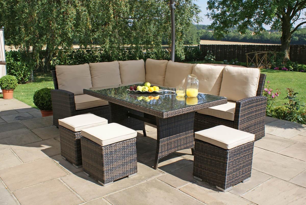 Garden Furniture Sofa Dining: Kingston Rattan Corner Sofa Dining Set With Rectangular