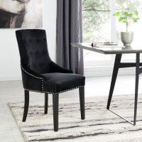 Dining Chair - Black Velvet Chrome Studded Dining Chair - Lion Knocker