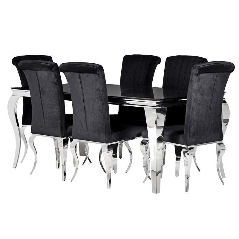 Black Velvet Dining Chair Chrome Swirl Legs