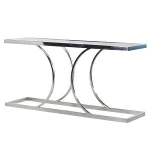 Console Table - Polished Chrome Curved Base - Glass Top