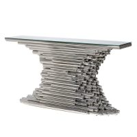 Console Table - Polished Chrome Tube - Glass Top Console Table