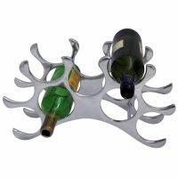 Wine Rack - 9 Bottle Aluminium Wine Rack - Table Top - Chrome Finish