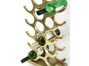 Wine Rack - 15 Bottle Wine Rack - Floor/Counter Standing - Brass Finish