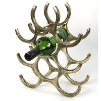 Wine Rack - 9 Bottle Aluminium Counter Top Wine Rack - Brass Finish