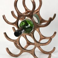 Wine Rack - 9 Bottle Aluminium Wine Rack - Counter Top - Copper Finish