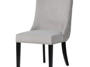 Dining Chair - Deep Buttoned Brushed Velvet - Chrome Studded - Black Legs