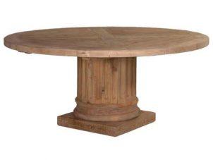 Dining Table - Large Round Oak Table - Corinthian Column Leg Design