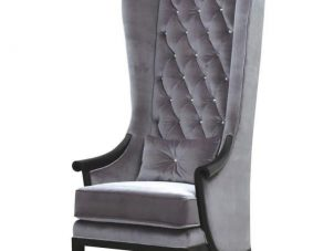 Porters Chair - Deep Buttoned Crystal Tall Porters Chair - Grey Velvet