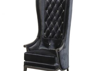 Porters Chair - Crystal Deep Buttoned Tall Porters Chair - Black Velvet