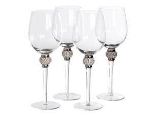 White Wine Glasses - Silver Crystal Ball - Wine Glasses - Set Of 4