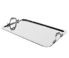 Serving Tray - Metal Rope Handled Design Tray - Chrome Finish