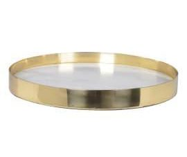 Serving Tray - Gold Edge - Round Marble Serving Tray