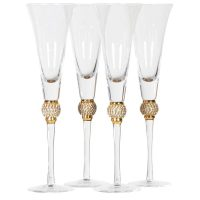 Champagne Flutes - Gold Crystal Ball Design - Set Of 4