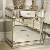 Bedside Cabinet - Champagne Gold Edged - 3 Drawer - Mirrored Bedside Cabinet
