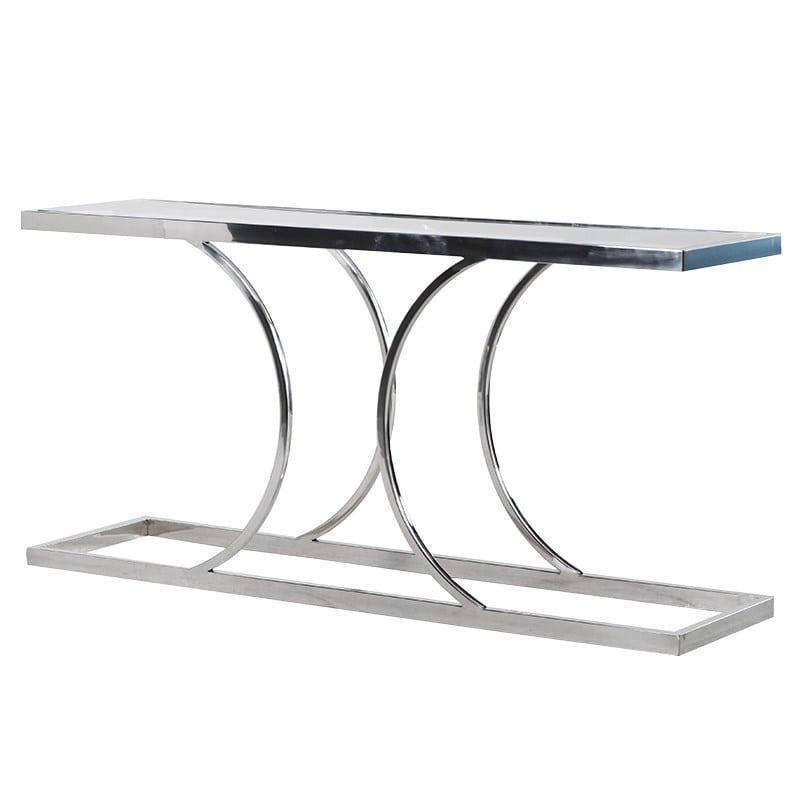 Parma Chrome Polished Chrome Console Table Glass Top Womacks