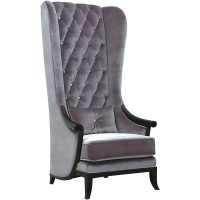 Porters Chair - Crystal Deep Buttoned Tall Porters Chair - Grey Velvet