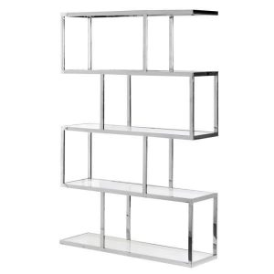 Wall Display Unit - Highly Polished Chrome & Glass Multi Shelves Unit