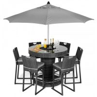 6 Seat Garden Bar Set - Inset Ice Bucket - Umbrella - Grey Polyweave
