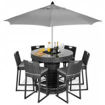 6 Seat Garden Bar Set - Inset Ice Bucket - Umbrella - Grey Polyweave