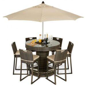6 Seat Garden Bar Set - Inset Ice Bucket - Umbrella - Brown Polyweave