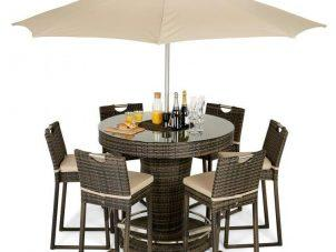 6 Seat Garden Bar Set - Inset Ice Bucket - Umbrella - Brown Polyweave