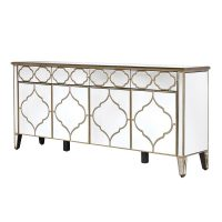 Sideboard - 4 Door 4 Drawer - Mirrored - Champagne Gold Surround