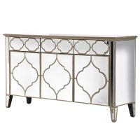 Sideboard - 3 Door 3 Drawer - Mirrored - Champagne Gold Surround