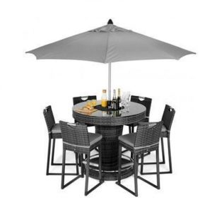 6 Seat High Garden Bar Set - Inset Ice Bucket - Umbrella - Grey Polyweave