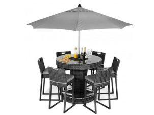 6 Seat High Garden Bar Set - Inset Ice Bucket - Umbrella - Grey Polyweave
