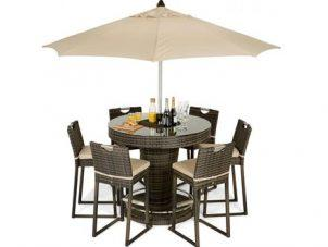 6 Seat Garden Bar Set - Inset Ice Bucket - Umbrella - Brown Poly-weave