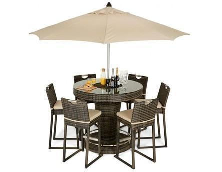 6 Seat Garden Bar Set - Inset Ice Bucket - Umbrella - Brown Poly-weave