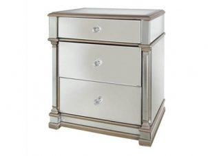 Bedside Cabinet - Champagne Gold Edge Finish - 3 Drawers