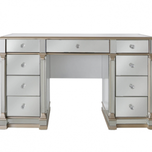 Dressing Table - Champagne Gold Edged - 9 Drawer - Mirrored Furniture Range