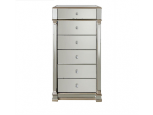 Tallboy Drawers - Champagne Edged - Mirrored Finish - 6 Drawer