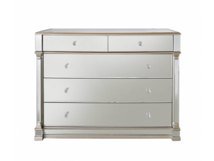 Chest Of Drawers - Champagne Edged 2 Over 3 Drawer - Bevel Mirrored
