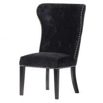 Black Velvet Deep Buttoned Chrome Lion Knocker Dining Chair